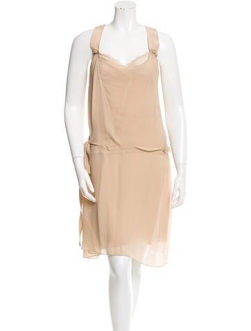 Vanessa Bruno Silk Lace-Trimmed Dress None