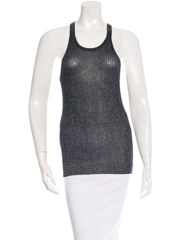 Vanessa Bruno Metallic Sleeveless Knit Top None