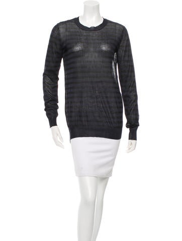 Vera Wang Striped High-Low Sweater None