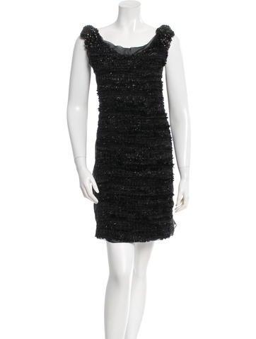 Vera Wang Textured Embellished Dress None