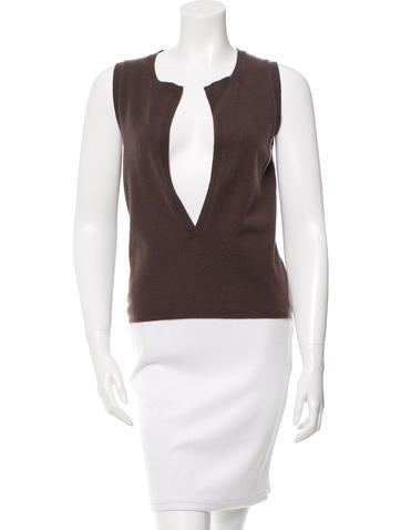 Vera Wang Sleeveless Cashmere Knit Top None