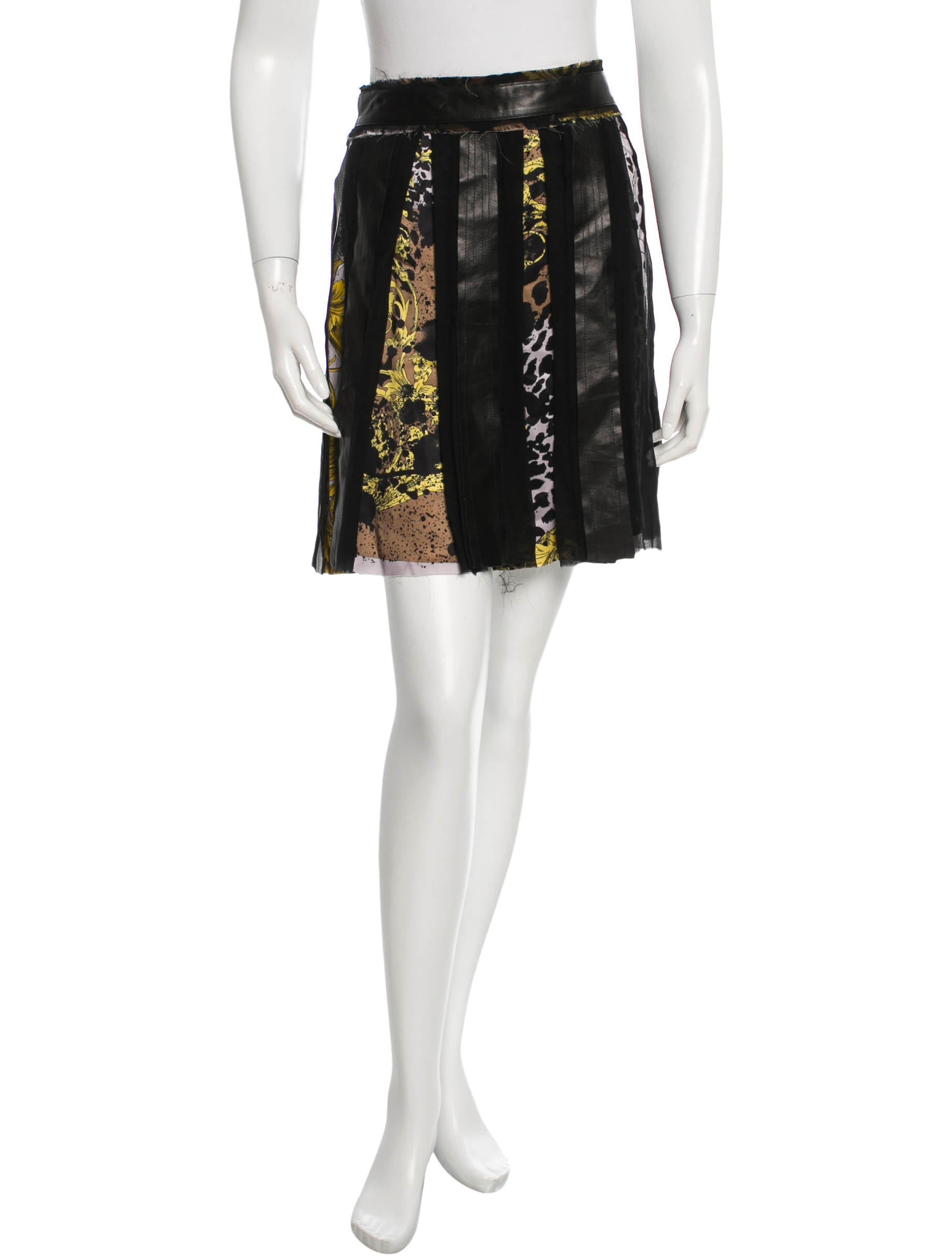 versace printed leather skirt skirts ves25333 the