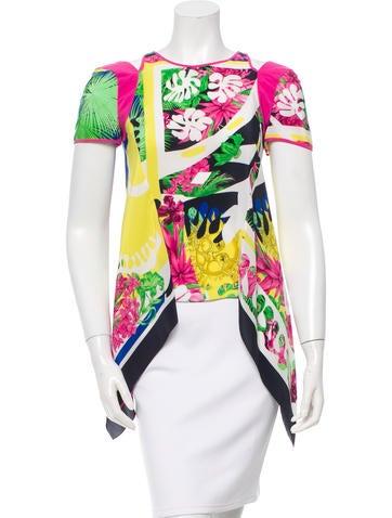 Versace Silk Tropical Print Top None