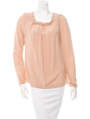 Maje Long Sleeve Silk Blouse None