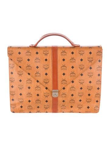MCM Visetos Leather Briefcase
