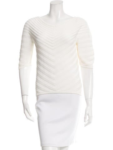 Malo Short Sleeve Chevron Knit Top None