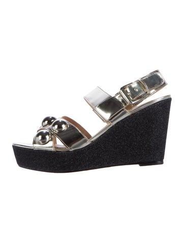 Markus Lupfer Metallic Glitter Wedge Sandals None