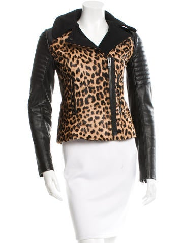 A.L.C. Leather Leopard Patterned Jacket None