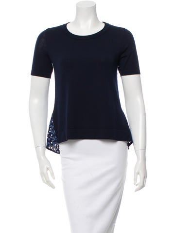 Akris Punto Wool Eyelet Top None
