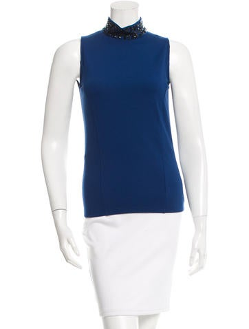 Akris Punto Embellished Mock Neck Top w/ Tags None