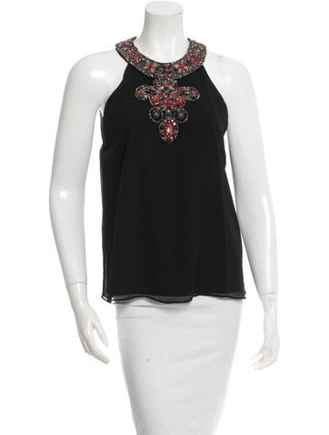 Alice + Olivia Sequined & Beaded Embellished Sleeveless Top w/ Tags