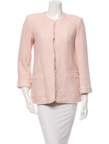 Alice + Olivia Collarless Tweed Jacket None