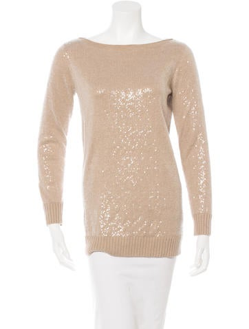 Alice + Olivia Sequined Bateau Neck Sweater None