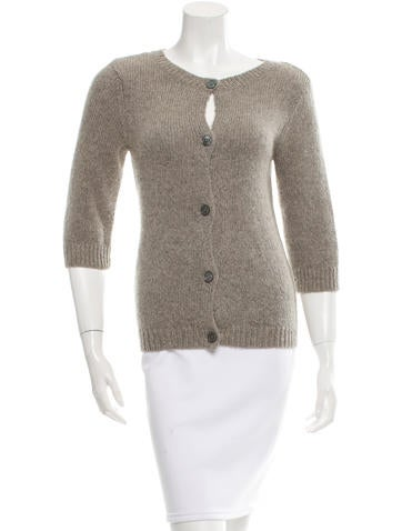 Alice + Olivia Crew Neck Knit Cardigan None