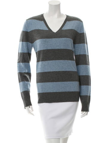 Adam Cashmere Striped Sweater None
