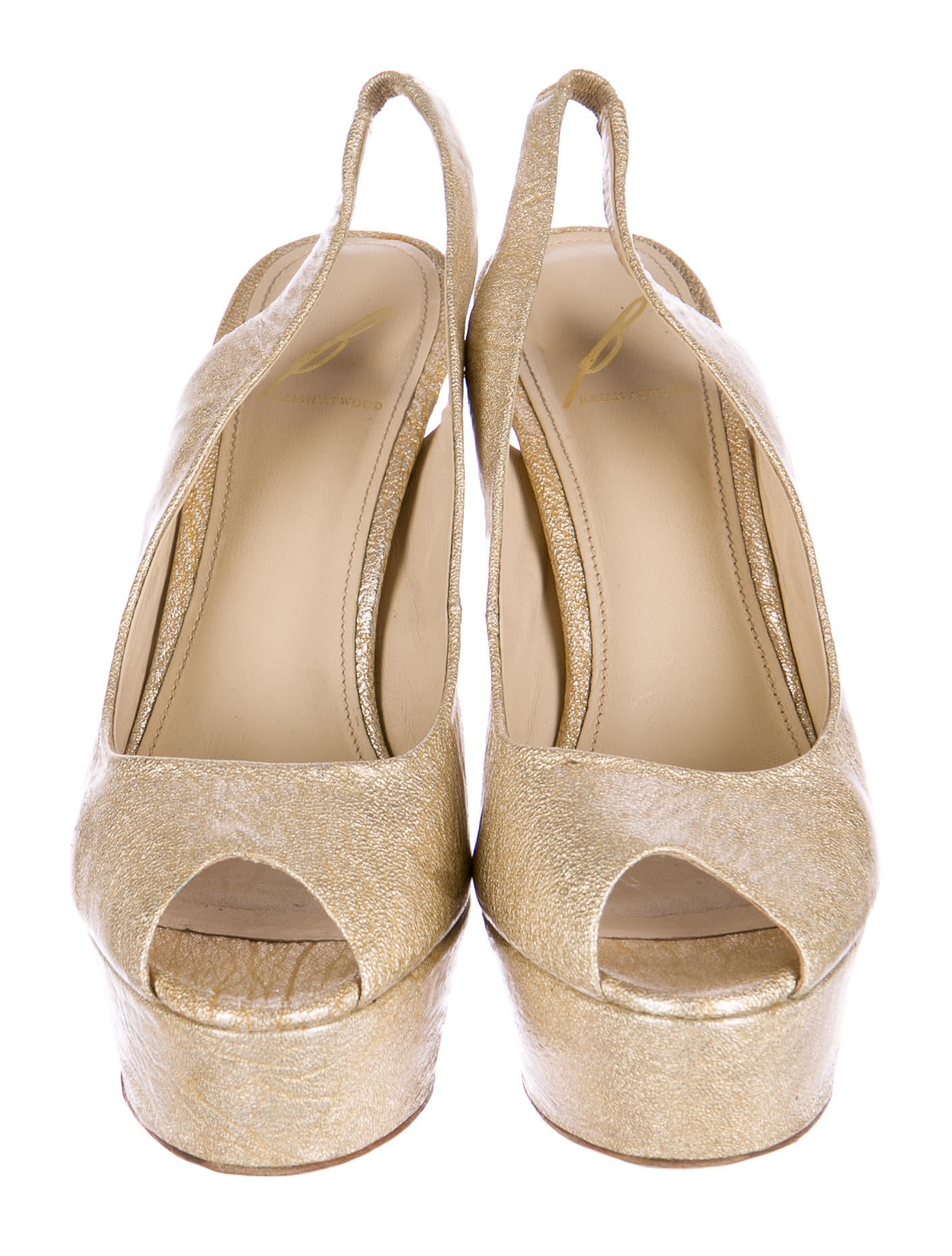 b brian atwood coated leather slingback pumps shoes