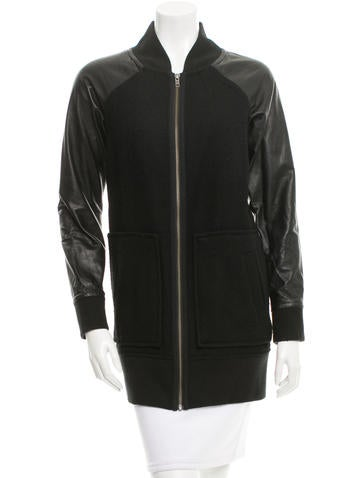 Cut25 by Yigal Azrouël Leather Sleeve Wool Coat None
