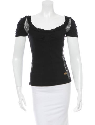 D&G Lace-Trimmed Short Sleeve Top None