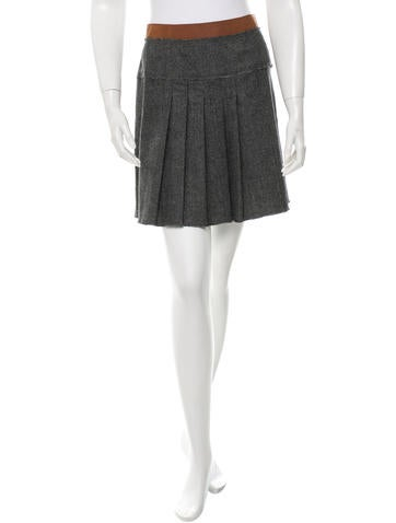 D&G Houndstooth Pleated Skirt None