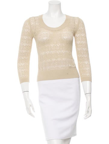 D&G Rib Knit Scoop Neck Sweater None