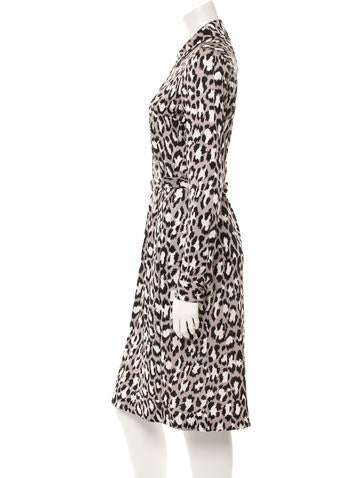 Leopard Print Long Sleeve Silk Midi Dress