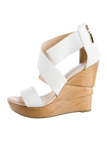 Diane von Furstenberg Crossover Leather Wedge Sandals
