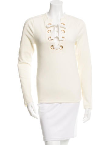 Derek Lam 10 Crosby Lace-Up Rib Knit Top None