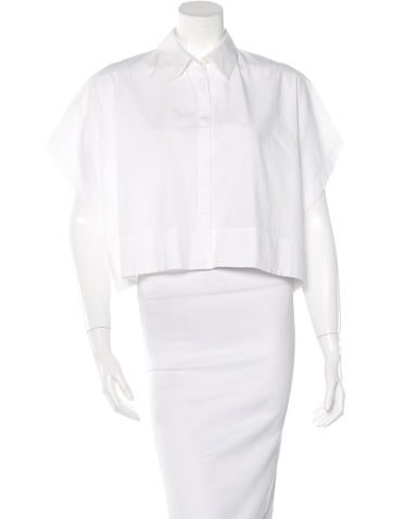 Edun Cropped Button-Up Top None