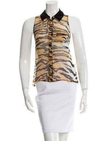 Equipment Silk Tiger Print Top None