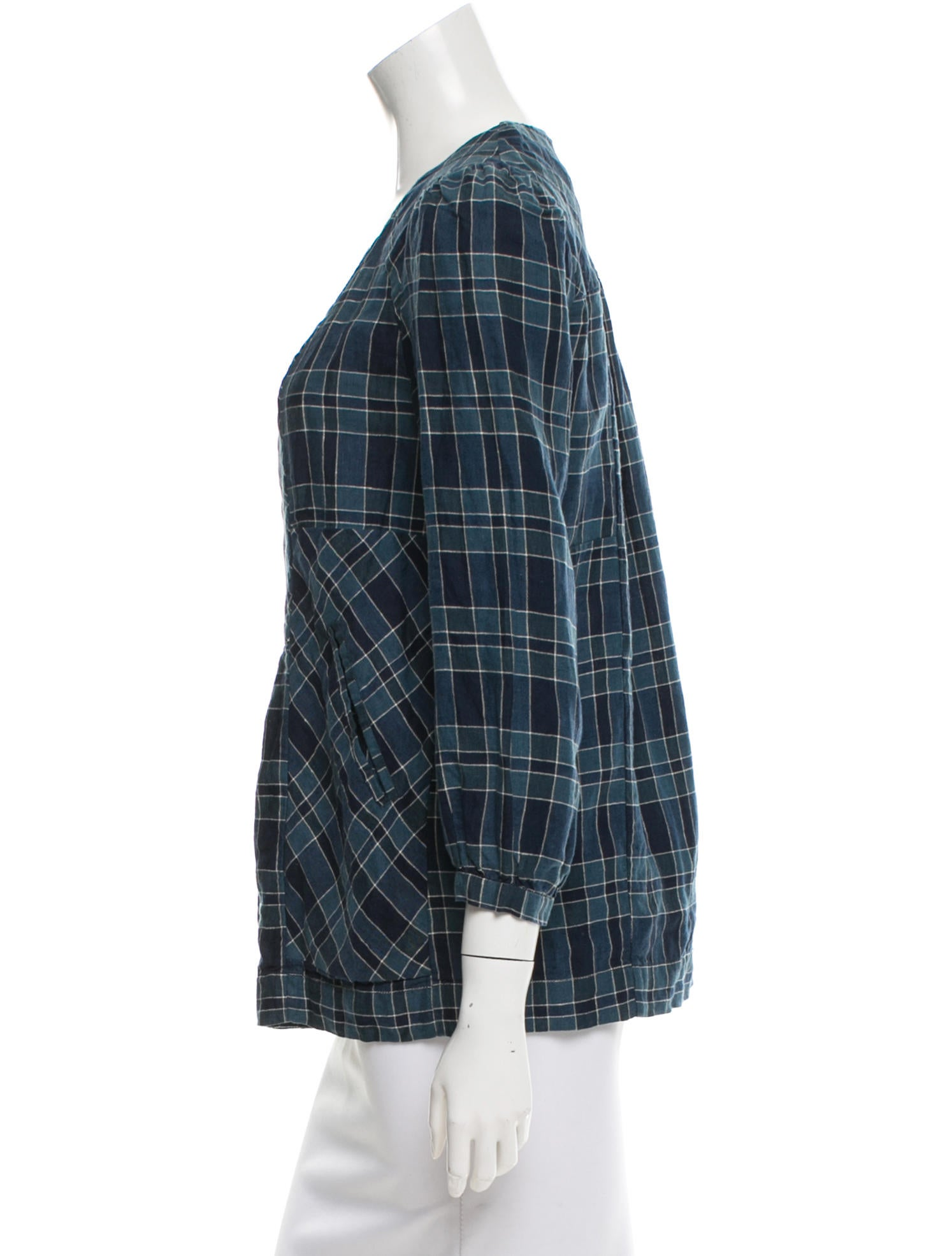 toile isabel marant plaid print long sleeve top tops. Black Bedroom Furniture Sets. Home Design Ideas