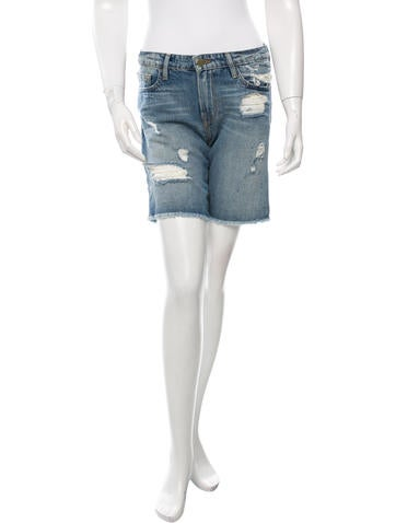 Frame Denim Distressed Knee-Length Shorts None