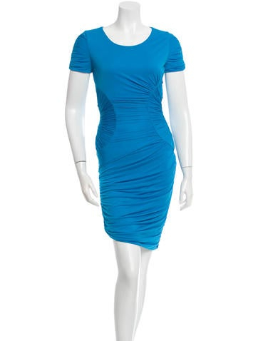 Halston Heritage Short Sleeve Ruched Dress None