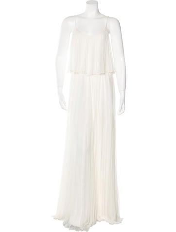 Halston Heritage Pleated Long Dress None