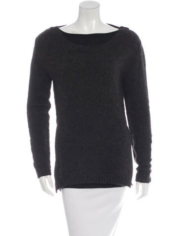 Hache Mohair & Wool-Blend Rib Knit Sweater None