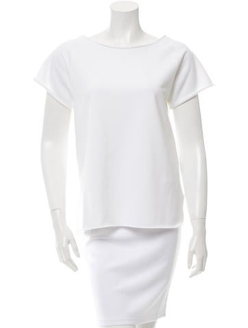 Helmut Lang Short Sleeve Raw Edge-Trimmed Top None