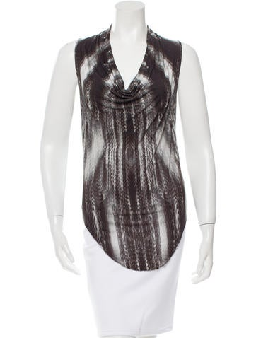 Helmut Lang Cowl Neck Printed Top None