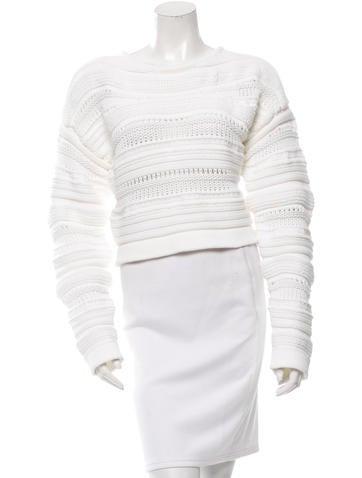 Helmut Lang Cropped Rib Knit Sweater None