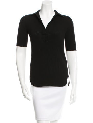 Helmut Lang Collared Rib Knit Top None