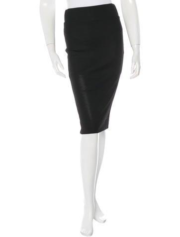 Helmut Lang Rib Knit Pencil Skirt None
