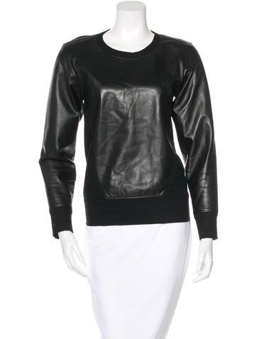 Helmut Lang Leather-Paneled Sweatshirt None
