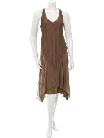 illia Silk Leather-Trimmed Sleeveless Dress w/ Tags None
