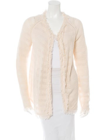 Inhabit Open Knit Fringe-Trimmed Cardigan w/ Tags None