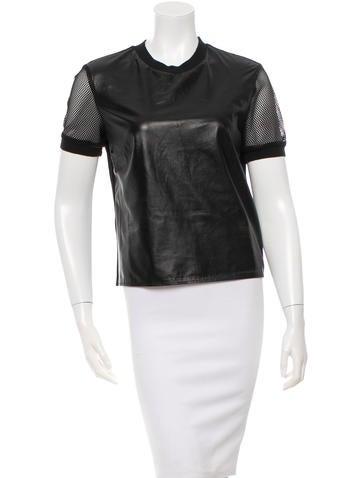 Jonathan Simkhai Mesh Sleeve Leather Top None