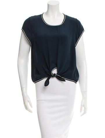 Jonathan Simkhai Silk Short Sleeve Top None