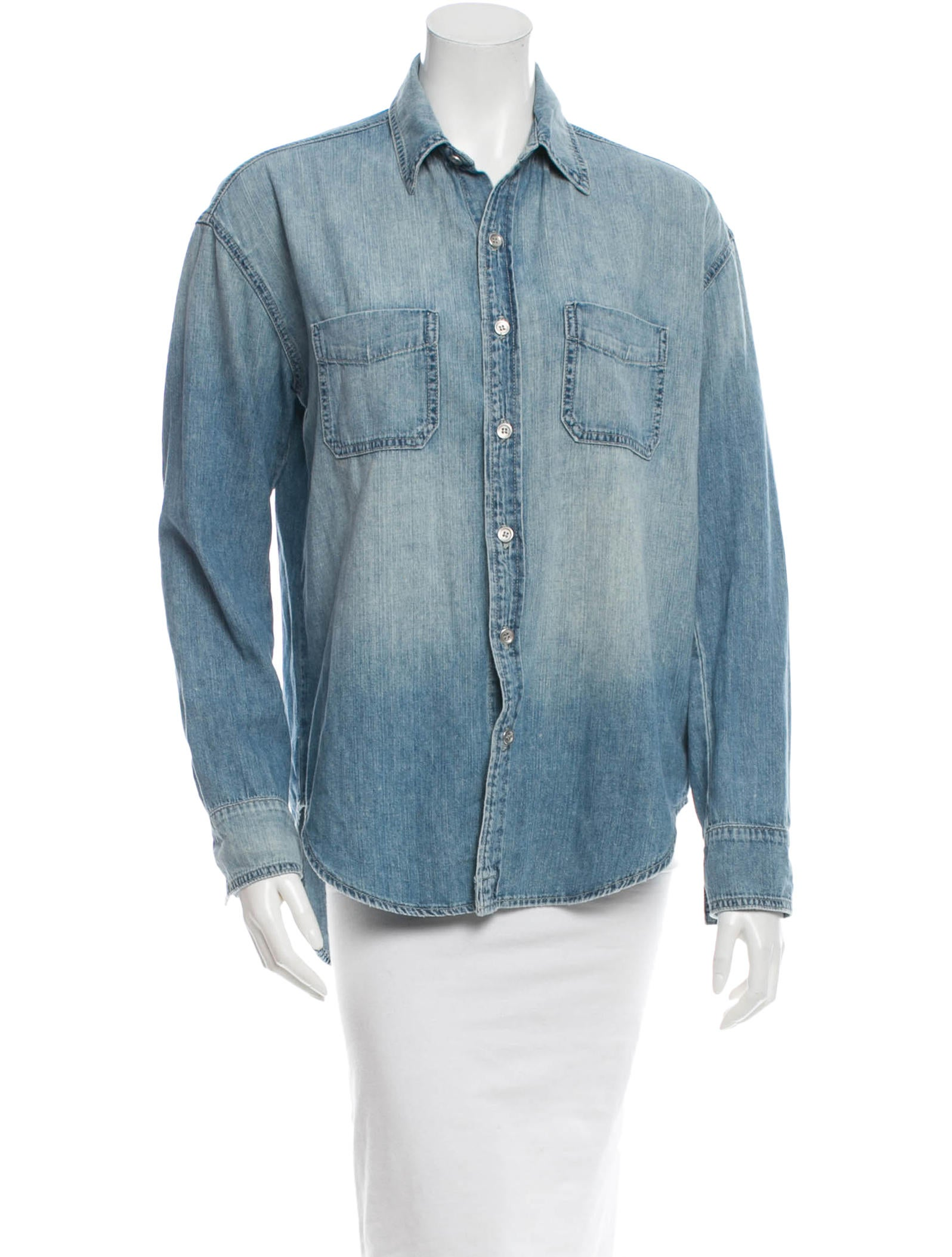 J brand chambray button up top tops wjb24783 the for Chambray top