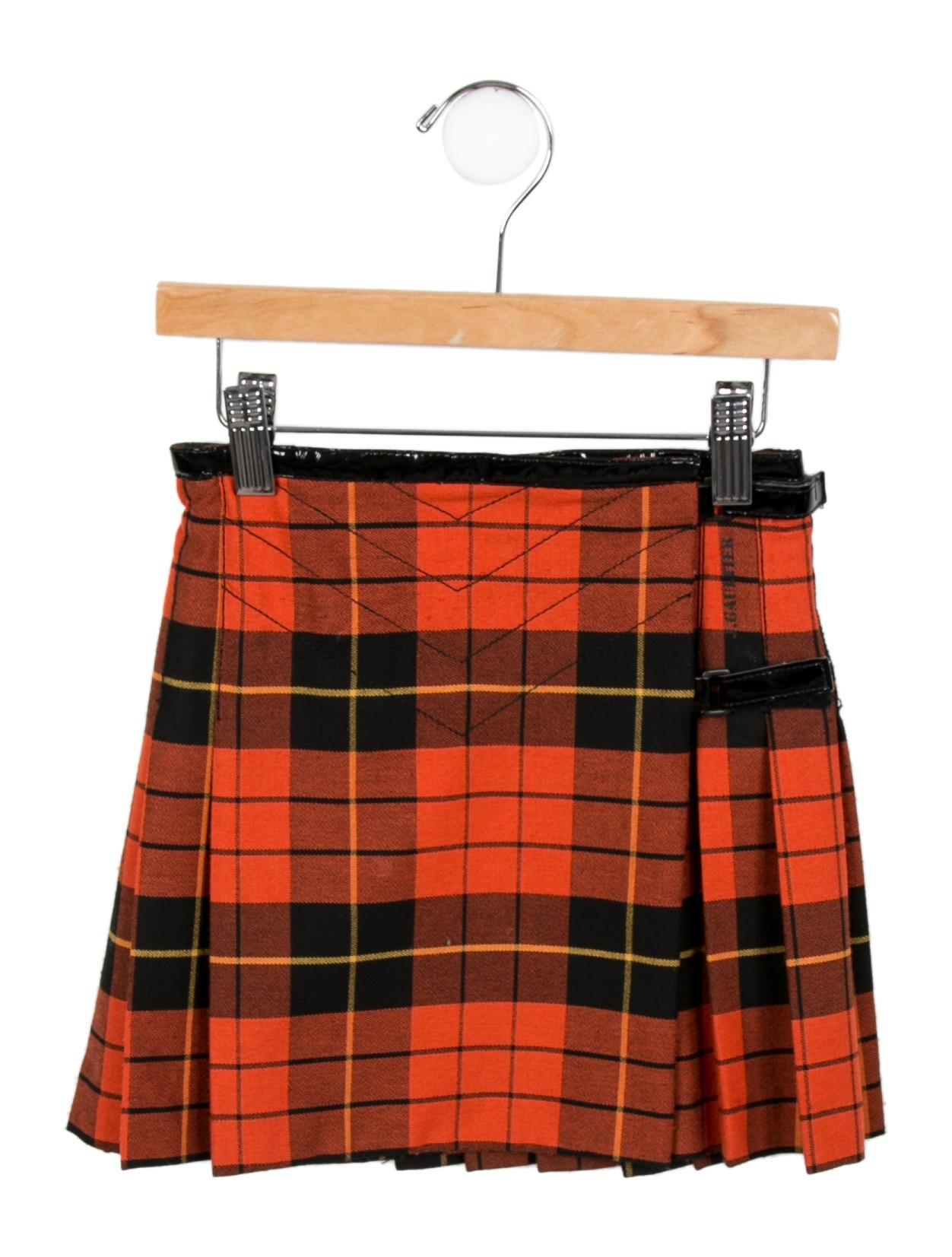 junior gaultier pleated plaid skirt