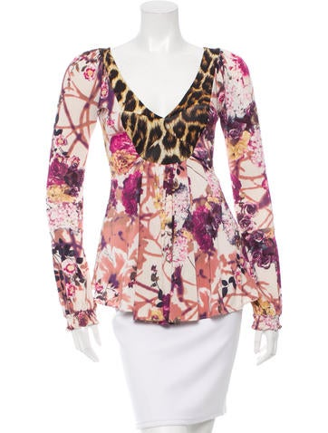 Just Cavalli Long Sleeve V-Neck Top None