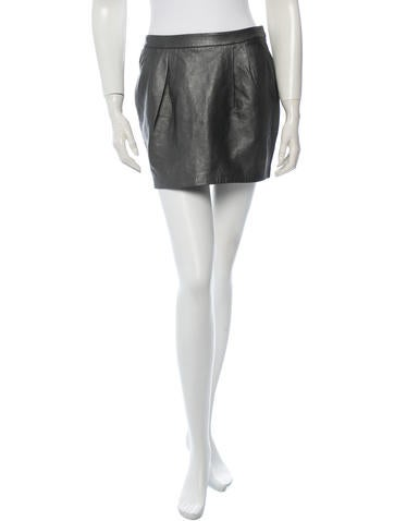 L'Agence Leather Skirt None
