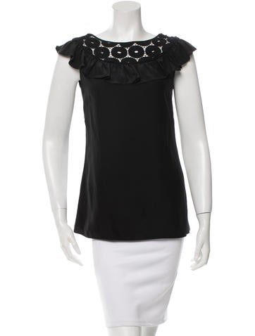 Loeffler Randall Embroidered Silk Top None