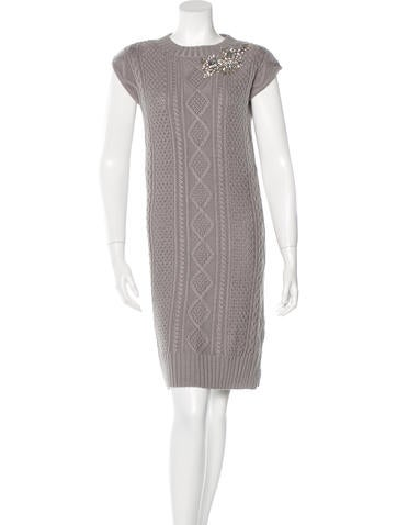 Love Moschino Cable Knit Embellished Dress w/ Tags None